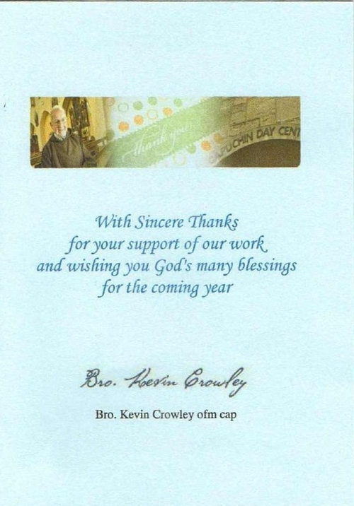 Thank you card from Capuchin Day Centre