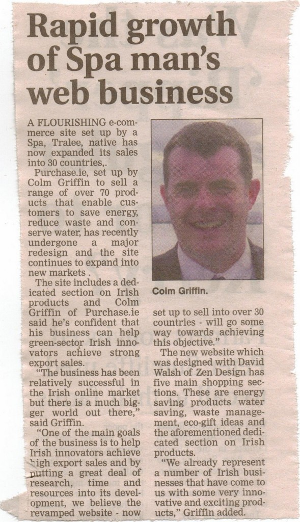 Colm Griffin of Purchase.ie Feature in Kerryman June 15th 2011