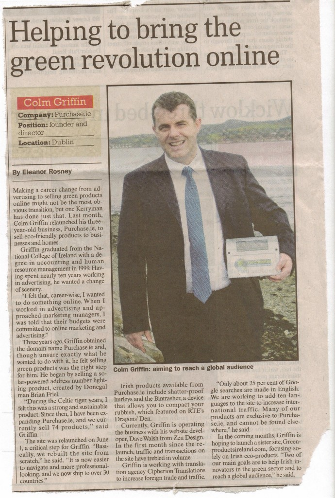Feature on Colm Griffin of Purchase.ie in Sunday Business Post